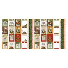 Набор полос с картинками для декорирования, Winter botanical diary, 5 шт, 5х30,5 см, Фабрика Декора