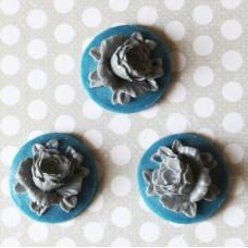 Кабошон Кувшинка синего и серого цветов, диаметр 18 мм, 1 шт