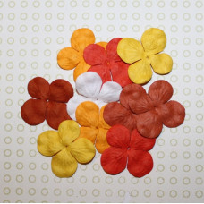 Набор 10 цветков гортензии в красных и оранжевых тонах, 30 мм