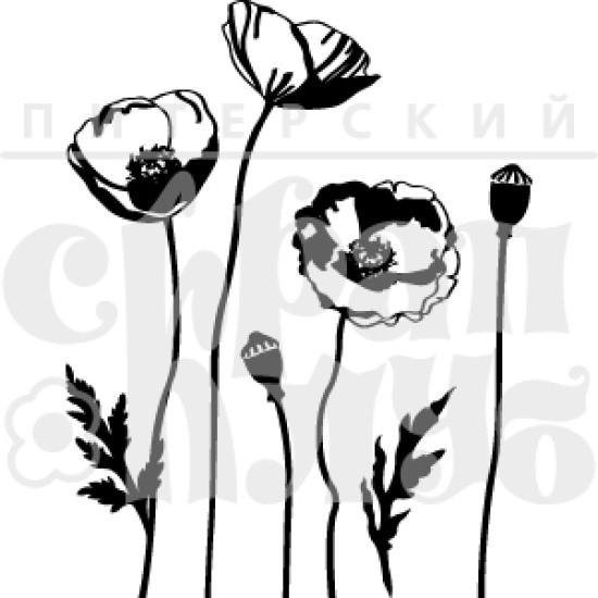 """Акриловый штамп """"Маки"""", 6х9 см от Питерского Скрапклуба"""