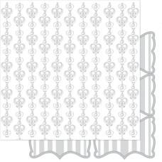 Двусторонняя перламутровая бумага Silver & White Sweetheart 30х30 см от Ruby Rock-It