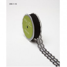 Кружево черного цвета, ширина 2,5 см, длина 90 см от компании May Arts