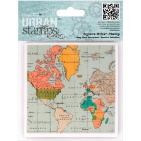 Резиновый штамп Map 10х10 см от компании Papermania