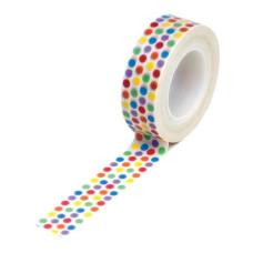 Бумажный скотч Rainbow Dots 9 м, 15 мм от компании Queen and Co