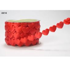 """Декоративная лента """"Сердечки"""" красного цвета 90 см от May Arts"""
