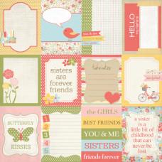 Двусторонняя бумага Sisters Journaling Cards 30х30 см от компании Echo Park