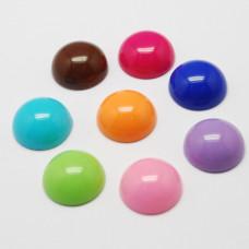 Набор разноцветных полукруглых украшений, 10 шт, 14х7 мм.