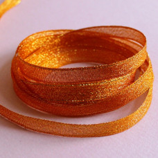 Блестящая лента оранжевого цвета, ширина 10 мм, длина 90 см