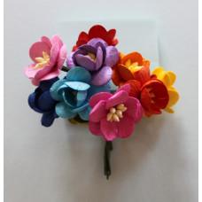 Набор  декоративных цветков вишни в разного цвета 10 шт.