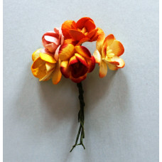 Набор  декоративных цветков вишни в разных тонах оранжевого цвета 5 шт.