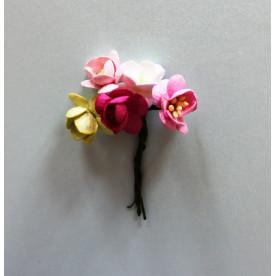 Набор  декоративных цветков вишни в разных тонах розово-зелёного цвета 5 шт.
