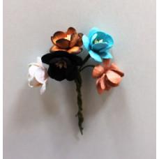 Набор  декоративных цветков вишни в разных тонах коричнево-бирюзового цвета 5 шт.