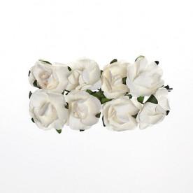 Набор розочек 25 мм 8 шт. белого цвета от Scrapberry's