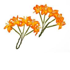 Набор 10  цветков лилии желто-оранжевого цвета