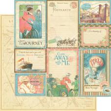 Двусторонняя скрапбумага Vintage Voyage 30х30 см от Graphic 45