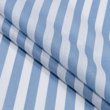 Бязь набивная, Полоса, синяя, плотность 120, 50x55, хлопок 100%