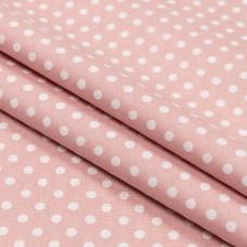 Бязь набивная, Горохи, розовая, плотность 120, 50x55, хлопок 100%