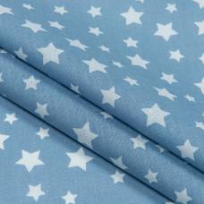Бязь набивная, Звезды, синяя, плотность 120, 50x55, хлопок 100%