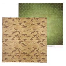 Бумага для скрапбукинга, Армейская палатка, 30,5×30,5 см, 180 г/м, АртУзор