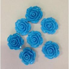Кабошон Роза, голубой, диаметр 20 мм, толщина 9 мм