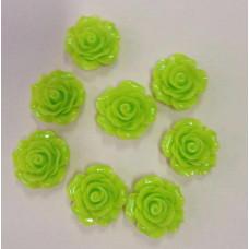 Кабошон Роза, цвет лайм, диаметр 20 мм, толщина 9 мм
