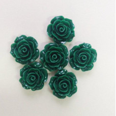 Кабошон Роза, темно-зеленый, диаметр 20 мм, толщина 9 мм