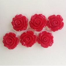 Кабошон Роза, красный, диаметр 20 мм, толщина 9 мм