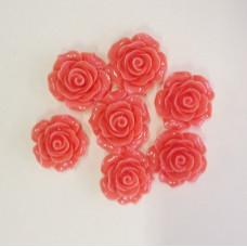 Кабошон Роза, коралловый, диаметр 20 мм, толщина 9 мм