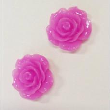 Кабошон Роза, фуксия, диаметр 20 мм, толщина 9 мм