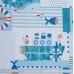 Бязь набивная, Морской голубой, плотность 120, 50х55 см, хлопок 52%