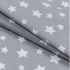 Бязь набивная, Звезды, серый, плотность 120, 50x55, хлопок 100%