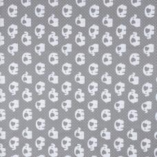 Бязь набивная голд Серые слоники, размер 50х70 см, хлопок 52%, полиэстер 48%, плотность 120