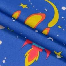 Бязь набивная детская, космос, синий, хлопок 52%, 120г/м, 50x55 см