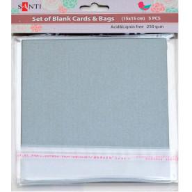 Набор серебристых перламутровых заготовок для открыток, 15см*15см, 250г/м2, 5шт. от Santi