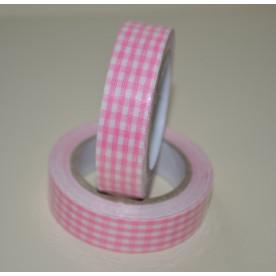 Лента тканевая на клеевой основе, нежно-розовая клетка, 15 мм, 4 м