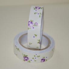 Лента тканевая на клеевой основе, весенние цветы фиолетовый на белом фоне, 15 мм, 4 м