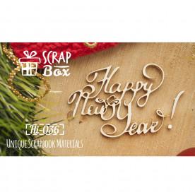 "Чипбор надпись ""Happy New Year"", размер 56*40 мм от Scrapbox"