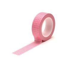 Бумажный скотч Pink Grid 9 м, 15 мм от компании Queen and Co