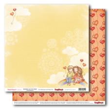 Двусторонняя бумага Мальчик и девочка Верхом на радуге  30,5х30,5 см от ScrapBerry's