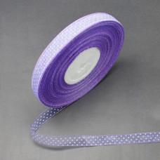 Лента из органзы в горошек, фиолетовая, 14 мм, 90 см.
