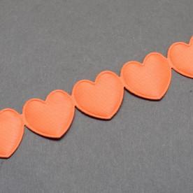 Лента - высечка Сердечки, коралловый, 16 мм, 90 см.