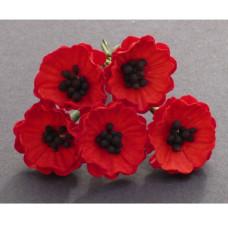 Набор цветков мака, красный, 5 шт, 20 мм.