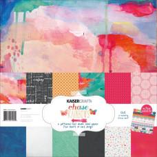 "Набор бумаги ""Chase Rainbows"" 30х30 см 12 листов + наклейки от Kaisercraft"