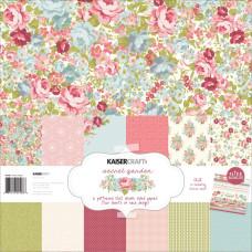 """Набор бумаги """"Secret Garden"""" 30х30 см 12 листов + найклеки от Kaisercraft"""