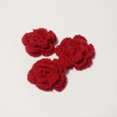 Вязаный двухслойный цветок, 36 мм, цвет красный