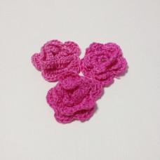 Вязаный двухслойный цветок, 36 мм, цвет малиновый