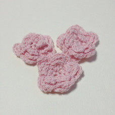 Вязаный двухслойный цветок, 36 мм, цвет розовый