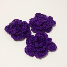 Вязаный двухслойный цветок, 36 мм, цвет лиловый