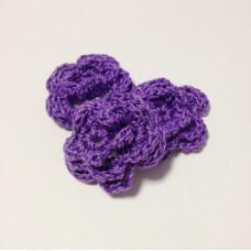 Вязаный двухслойный цветок, 36 мм, цвет фиолетовый