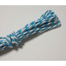 Двухцветный бумажный шнур, 2 мм, рулон 7 м, цвет голубой